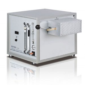 Measured elements: hydrogen Samples: metals, steel Furnace alignment: horizontal / tilting function Sample carrier: - Furnace: resistance furnace with quartz tube, adjustable up to 1000 °C (operating temperature 900 - 1000 °C) Detection method: thermal conductivity
