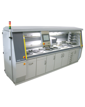Working wheels: Ø 300 mm Foil changer station Dosing system: 6-fold, incl. fine polishing suspension Storage for up to 10 sample holders Individual configuration