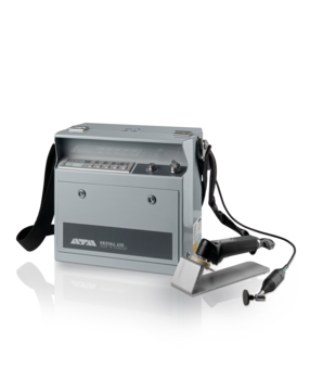Portable unit for electrolytic polishing and etching Independent of the mains supply Low-weight, high-performance batteries Replaceable tank for electrolytes Solid aluminum housing with strong carrier grip and shoulder strap