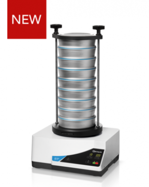 "Measuring range*: 20 µm - 25 mm Sieving motion: throwing motion with angular momentum Amplitude: digital, 0.2 - 3.0 mm Time display: digital, 1 - 99 min Suitable sieve diameters: 100 mm / 150 mm / 200 mm / 203 mm (8"")"