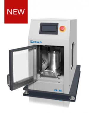 Applications: preparation of pellets for spectral analyses Max. pressure: 35 t, automatic press
